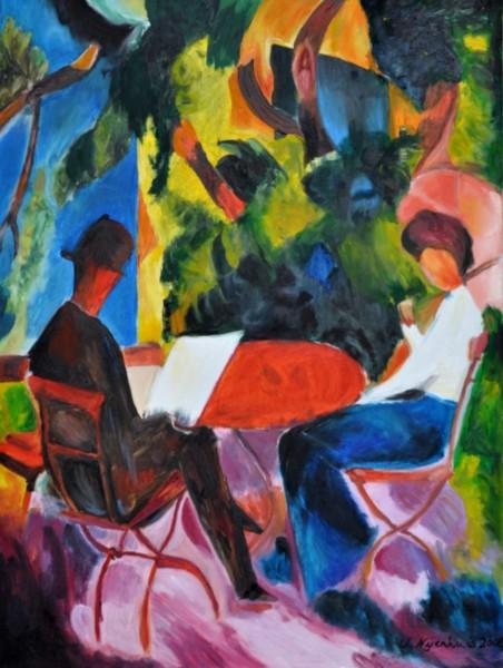 August Macke: Paar am Gartentisch, Gemälde